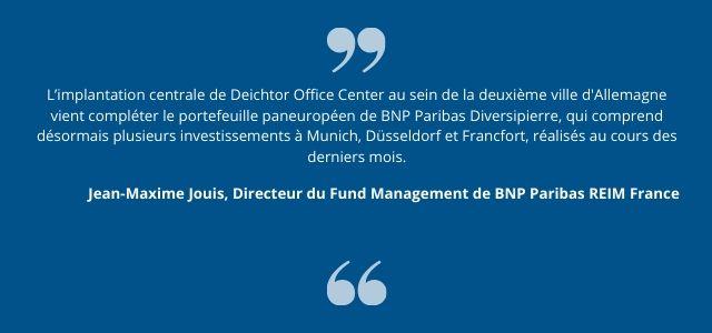 L'implantation centrale de Deichtor Office Center au sein de la deuxième ville d'Allemagne vient compléter le portefeuille paneuropéen de BNP Paribas Diversipierre, qui comprend désormais plusieurs investissements à Munich, Düsseldorf et Francfort, réalisés au cours des derniers mois