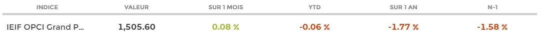 IEIF OPCI Grand Public Bimensuel : les performances de l'indice au 15 janvier 2021